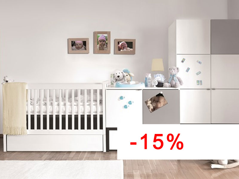 BABY VOX Young Users – 3 meubles – lit, commode, armoire 2 portes  Baby Mani