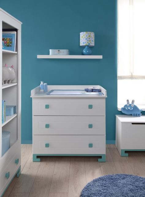 PINIO Bleu Garçon  5 meubles  lit 120×60, commode, armoire 2 portes