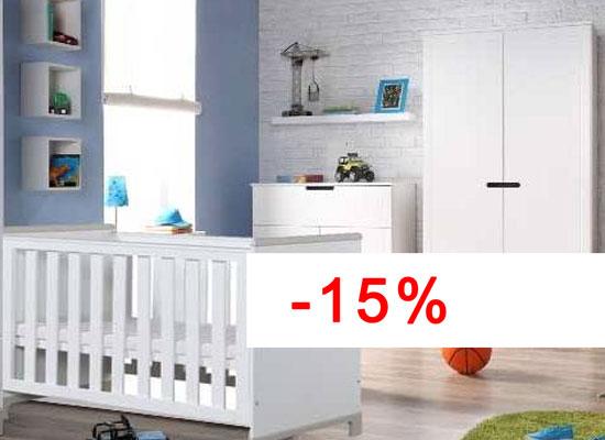 Pinio mini gris gar on 3 meubles lit 120 60 commode armoire 2 portes - Chambre bebe complete discount ...