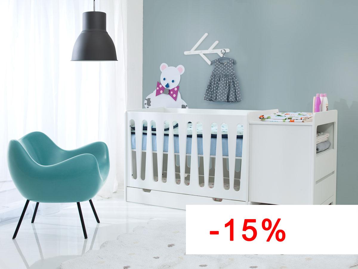 Pinio moon 2 meubles lit 120 60 commode baby boutique en ligne - Chambre bebe complete discount ...